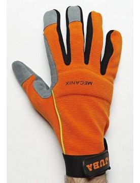 5 pares guante cuero mecanix naranja