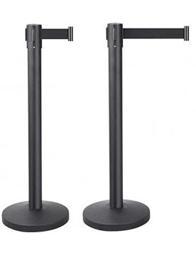 Pack 2 poste separador con cinta extensible negra de 2 metros